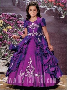 Discount 2012 Beautiful Purple Ball gown Strap Floor-length Flower Girl Dresses Style S11-F931