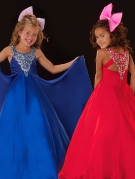 Discount 2012 Beautiful Red A-Line Scoop Floor-length Flower Girl Dresses Style 4812S