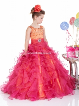 Discount 2012 Beautiful Red Ball gown Scoop Floor-length Flower Girl Dresses Style 13310