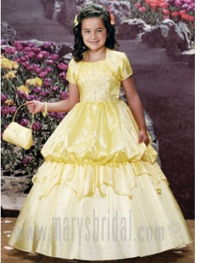 Discount 2012 Beautiful Yellow Ball gown Strap Floor-length Flower Girl Dresses Style S11-F937