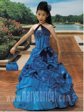 Discount 2012 Brand new A-Line Halter top neck Floor-length Blue Flower Girl Dresses Style S10-F354