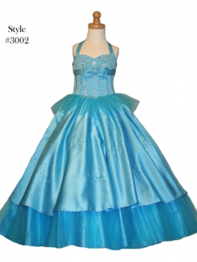 Discount 2012 Brand new A-Line Halter top neck Floor-length Blue Flower Girl Dresses Style3002