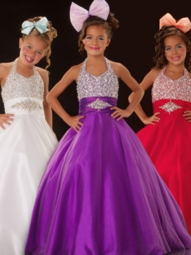 Discount 2012 Brand Purple new Ball gown Halter top neck Floor-length Flower Girl Dresses Style 81527S