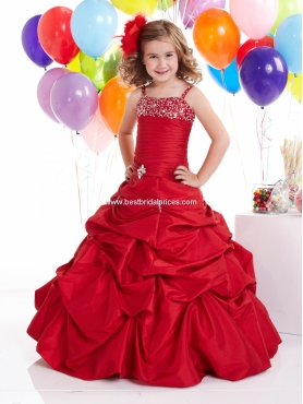 Discount 2012 Brand Red new Ball gown Strap Floor-length Flower Girl Dresses Style 13301