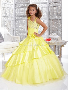 Discount 2012 Brand Yellow new Ball gown Strap Floor-length Flower Girl Dresses Style 33422