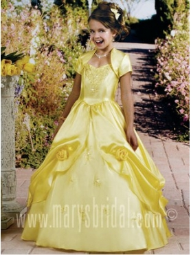 Discount 2012 Brand Yellow new Ball Gown Strap Floor-length Flower Girl Dresses Style F11-F961