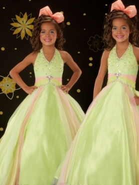 Discount 2012 Cute Ball gown Halter top neck Floor-length  Green Flower Girl Dresses Style 4851S