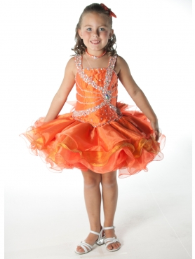 Discount 2012 Cute Orange Ball gown Square Short Flower Girl Dresses Style UF1023