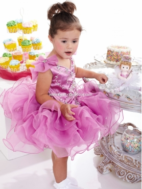 Discount 2012 Cute Purple Ball gown V- neck Short Flower Girl Dresses Style 23315