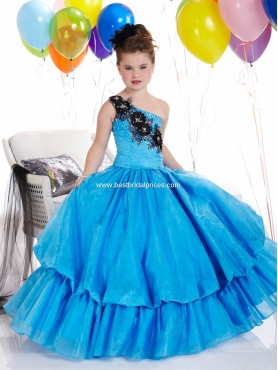 Discount 2012 Exclusive Ball gown One-shoulder Floor-length Blue Flower Girl Dresses Style 13304