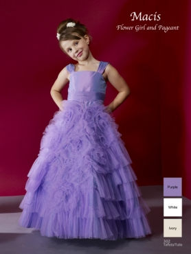 Discount 2012 Exclusive Purple A-Line Square Floor-length Flower Girl Dresses Style 302