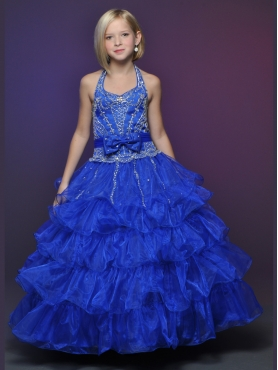 Discount 2012 Gorgeous Ball gown Halter top neck Floor-length Blue Flower Girl Dresses Style 530