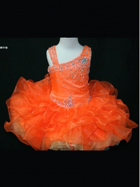 Discount 2012 Gorgeous Orange Ball gown One shoulder Short Flower Girl Dresses Style SR118