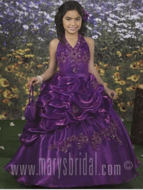 Discount 2012 Gorgeous Purple Ball gown Halter top neck Floor-length Flower Girl Dresses Style F10-F885