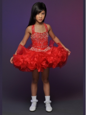 Discount 2012 Gorgeous Red Ball gown Halter top neck Short Flower Girl Dresses Style 540