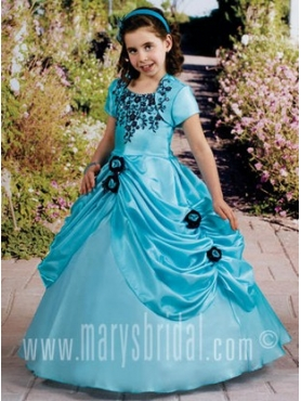 Discount 2012 Latest Ball Gown Square Floor-length Blue Flower Girl Dresses Style F11-F970