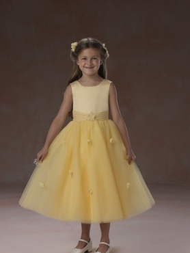 Discount 2012 Lovely Yellow A-Line Scoop Tea-length Flower Girl Dresses Style 2957