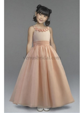 Discount 2012 Low price A-Line Scoop Floor-length Brown Flower Girl Dresses Style LM3425