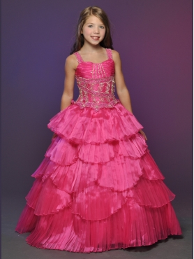 Discount 2012 Luxurious Red Ball gown Strap Floor-length Flower Girl Dresses Style 537