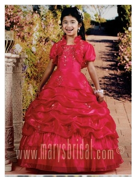 Discount 2012 Luxurious Red Ball Gown Strap Floor-length Flower Girl Dresses Style F11-F973