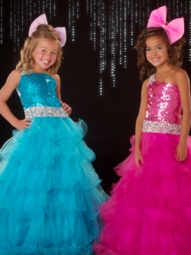 Discount 2012 Perfect A-Line One-shoulder Floor-length Blue Flower Girl Dresses Style 50049S