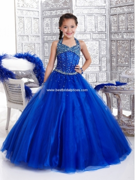 Discount 2012 Perfect Ball gown Halter Floor-length Blue Flower Girl Dresses Style 33424