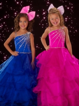 Discount 2012 Perfect Ball gown One-shoulder Floor-length Blue Flower Girl Dresses Style 81524S