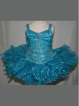 Discount 2012 Perfect Ball gown Strap Short Blue Flower Girl Dresses Style 372
