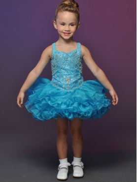 Discount 2012 Perfect Ball gown Strap Short Blue Flower Girl Dresses Style 524