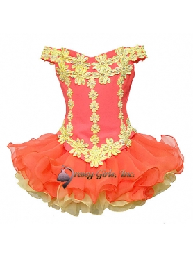 Discount 2012 Perfect Orange Ball gown Off the shoulder Short Flower Girl Dresses Style DG1202