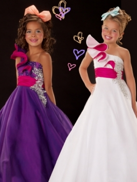 Discount 2012 Perfect Purple A-Line One-shoulder Floor-length Flower Girl Dresses Style 4865S