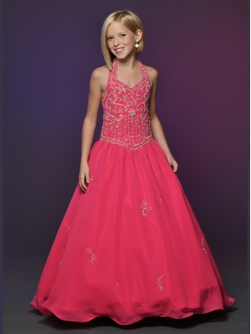 Discount 2012 Perfect Red A-line Halter top neck Floor-length Flower Girl Dresses Style 528