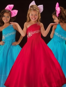 Discount 2012 Perfect Red A-Line One-shoulder Floor-length Flower Girl Dresses Style 81598S
