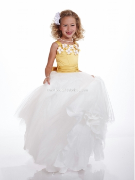 Discount 2012 Perfect Yellow A-Line Scoop Floor-length Flower Girl Dresses Style 53101