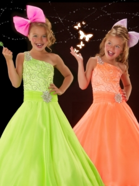 Discount 2012 Popular A-Line One-shoulder Floor-length Flower  Green Girl Dresses Style 50050S