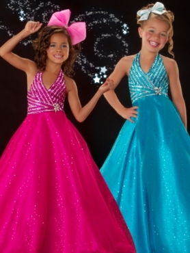 Discount 2012 Pretty Ball gown Halter top neck Blue Floor-length Flower Girl Dresses Style 4864S