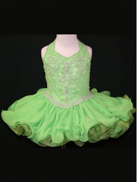 Discount 2012 Pretty Ball gown Halter top neck Short Green  Flower Girl Dresses Style 521