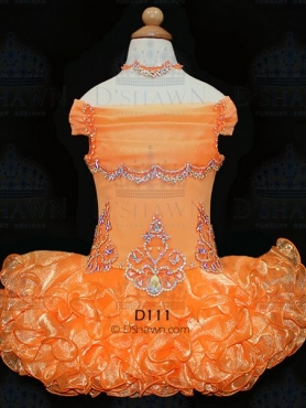 Discount 2012 Pretty Orange Ball gown Off the shoulder Short Flower Girl Dresses Style D111