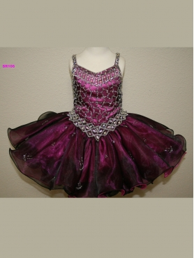 Discount 2012 Pretty Purple Ball gown Strap Short Flower Girl Dresses Style SR106