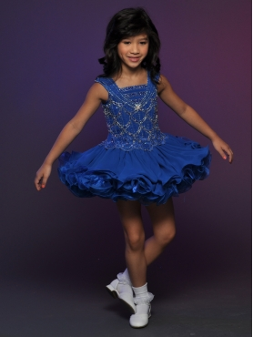 Discount 2012 Remarkable Ball gown Square Short Blue Flower Girl Dresses Style 532