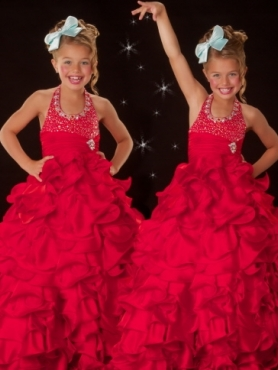 Discount 2012 Romantic Red Ball gown Halter top neck Floor-length Flower Girl Dresses Style 4776S