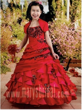 Discount 2012 Romantic Red Ball gown Strap Floor-length Flower Girl Dresses Style F11-F965