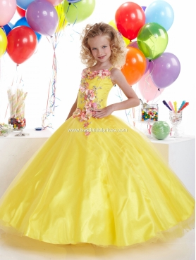 Discount 2012 Romantic Yellow Ball gown Strap Floor-length Flower Girl Dresses Style 13306