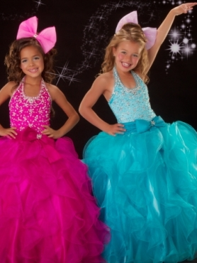 Discount 2012 Sweet Ball gown Halter top neck Blue Floor-length Flower Girl Dresses Style 81281S