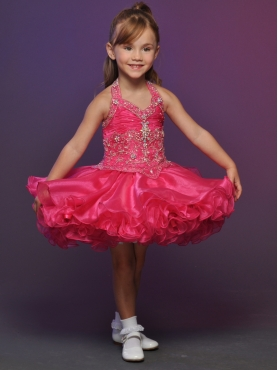 Discount 2012 Sweet Red Ball gown Halter top neck Short Flower Girl Dresses Style 531