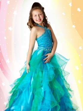 Discount 2012 The most Popular A-Line Halter top neck Blue Floor-length Flower Girl Dresses Style 4701S