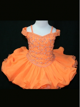 Discount 2012 Unique Orange Ball gown Off the shoulder Short Flower Girl Dresses Style 534