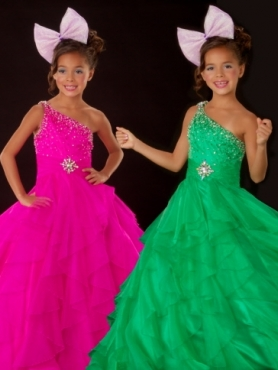 Discount 2012 Wonderful Ball gown One-shoulder Floor-length  Green Flower Girl Dresses Style 42544S