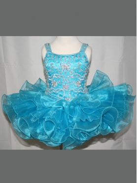 Discount 2012 Wonderful Ball gown Square Short Blue Flower Girl Dresses Style 2239