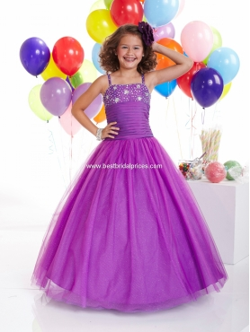 Discount 2012 Wonderful Purple A-line Strap Floor-length Flower Girl Dresses Style 13307